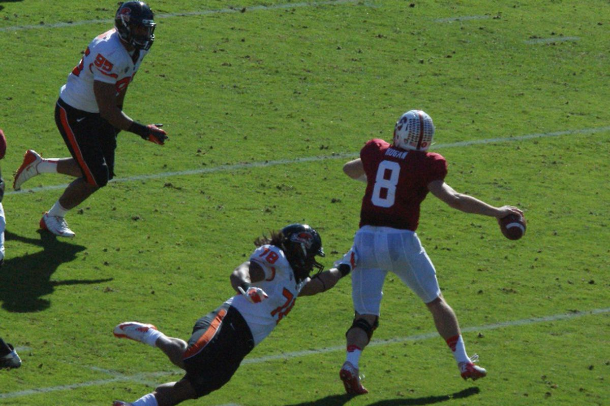 Who had this freshman winning 4 straight games against ranked opponents, claiming the MVP of the Pac-12 Title game, and leading Stanford to the Rose Bowl when Oregon St. first encountered him earlier this month?