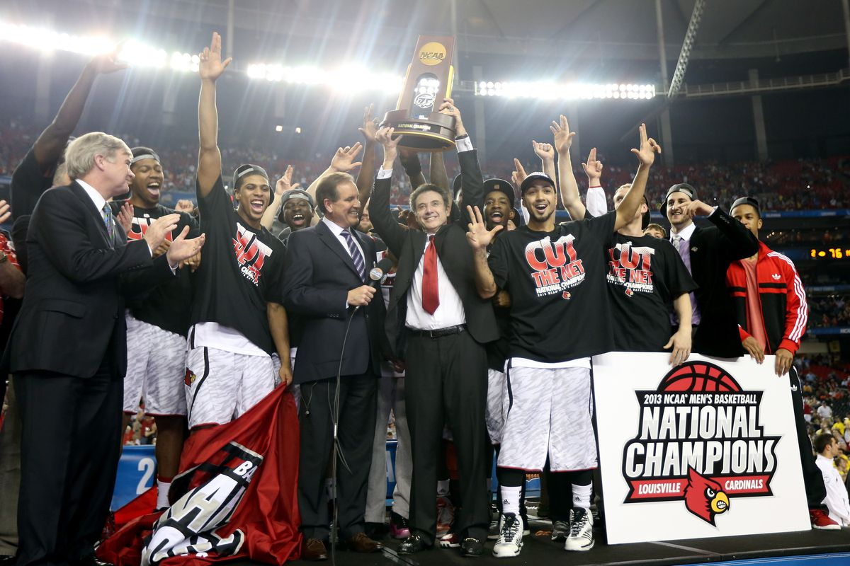 Rick Pitino and the Louisville Cardinals win the 2013 NCAA Division I men's basketball championship in Atlanta.  The women will have a chance to do the same in New Orleans later tonight.