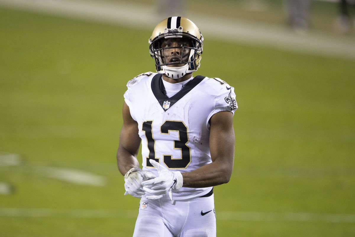 Michael Thomas #13 of the New Orleans Saints looks on against the Philadelphia Eagles at Lincoln Financial Field on December 13, 2020 in Philadelphia, Pennsylvania.