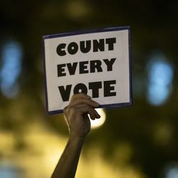 At least 1,000 protesters rally in Daley Plaza before marching through the Loop to demand every vote be counted in the general election, Wednesday night, Nov. 4, 2020.