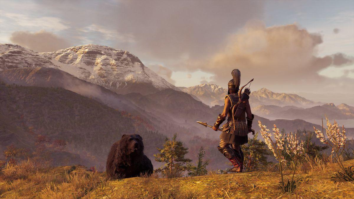 Assassin's Creed Odyssey — Kassandra faces down a bear