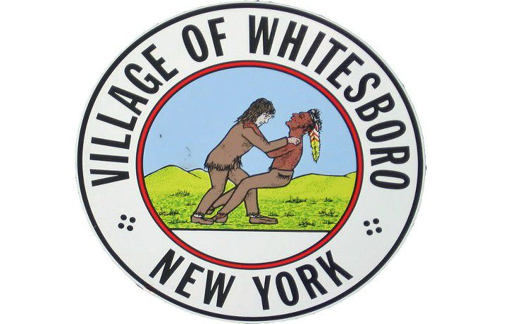 The seal of Whitesboro, New York, shows a white man wrestling with a Native American.