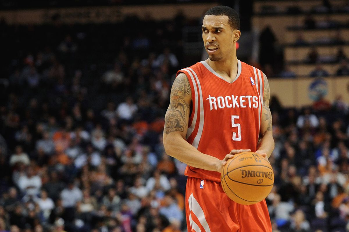 Mar. 18, 2012; Phoenix, AZ, USA; Houston Rockets guard Courtney Lee (5) reacts while playing against the Phoenix Suns during the first half at the US Airways Center.  Mandatory Credit: Jennifer Stewart-US PRESSWIRE.