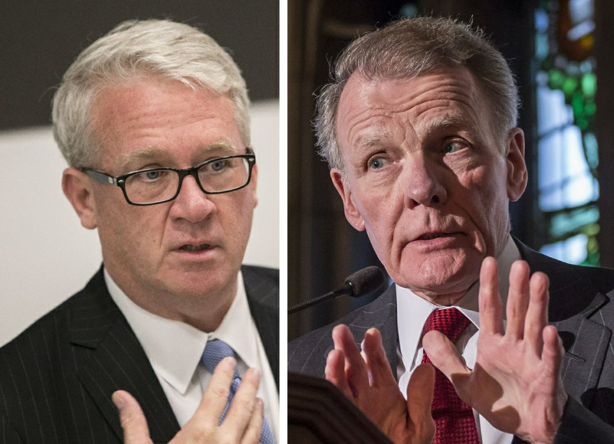 House Republican Leader Jim Durkin, left, in 2018; House Speaker Mike Madigan, right, in 2015.
