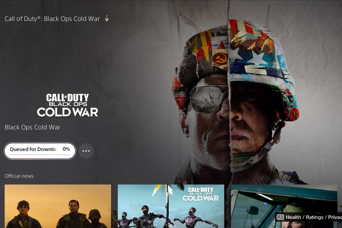 Call of Duty Black Ops Cold War in the PS5 store with Queued for Download