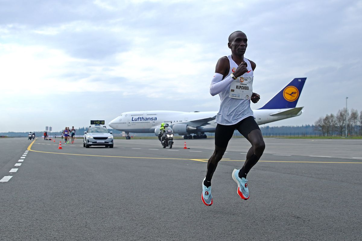 Eliud Kipchoge of Kenya winner of the gold medal competes during the NN Mission Marathon held at Airport or Vliegveld Twente on April 18, 2021 in Enschede, Netherlands.