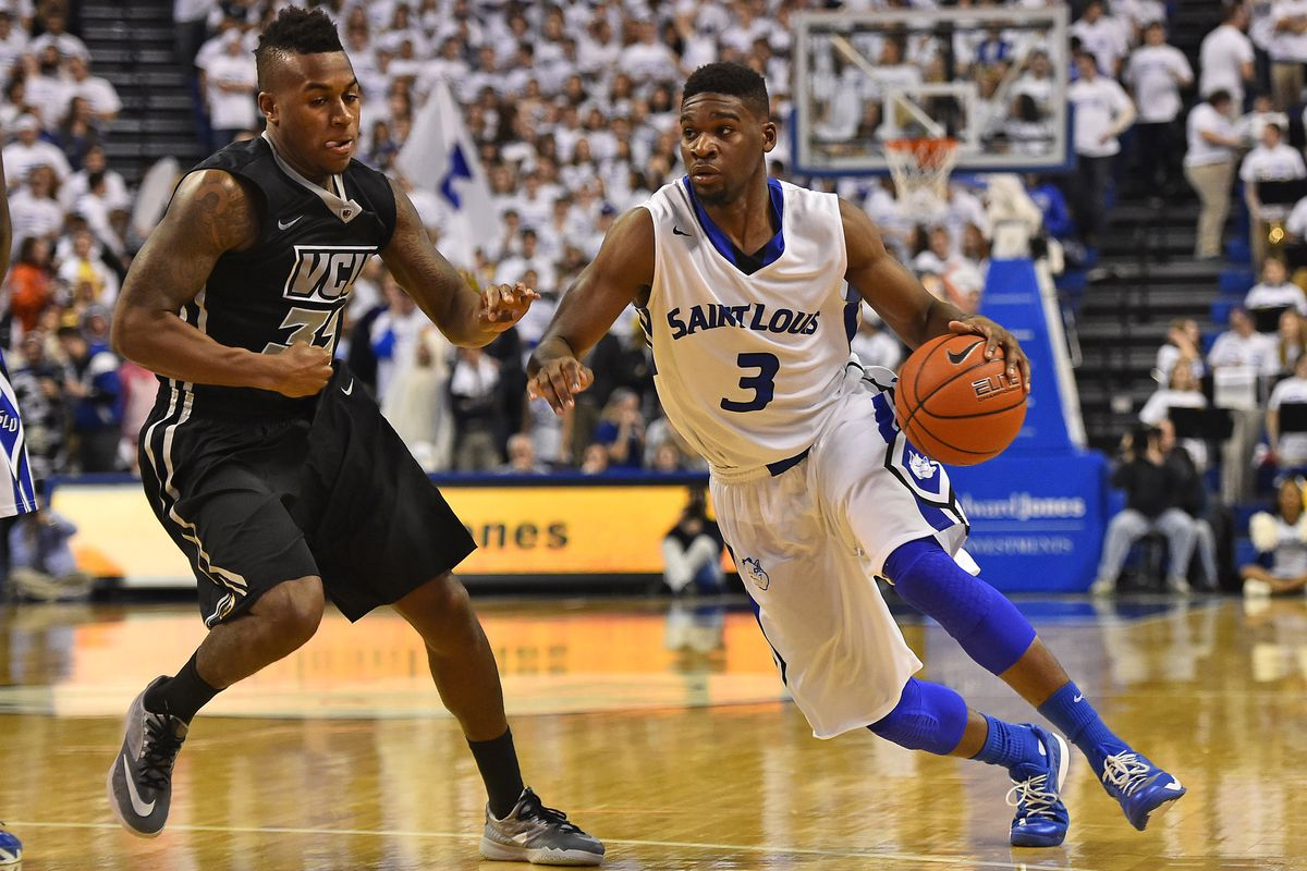Saint Louis guard Ash Yacoubou (#3) scored a career-high 20 points in a 68-61 overtime victory against the Saint Joseph's Hawks on Tuesday, Feb. 3rd, 2015,