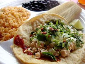 tacos, rice, and beans