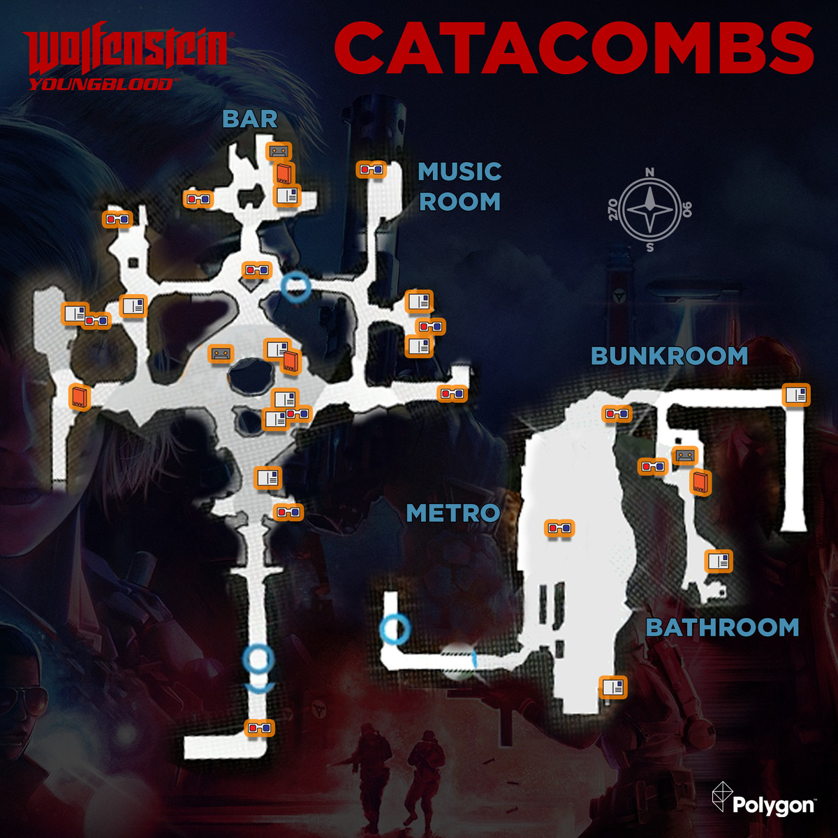 Wolfenstein: Youngblood Catacombs map with collectibles