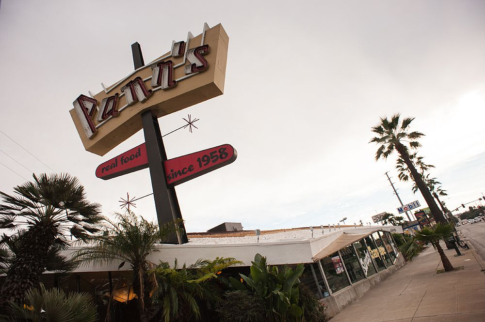 Googie style architecture makes the exterior of Pann's especially eye-catching.