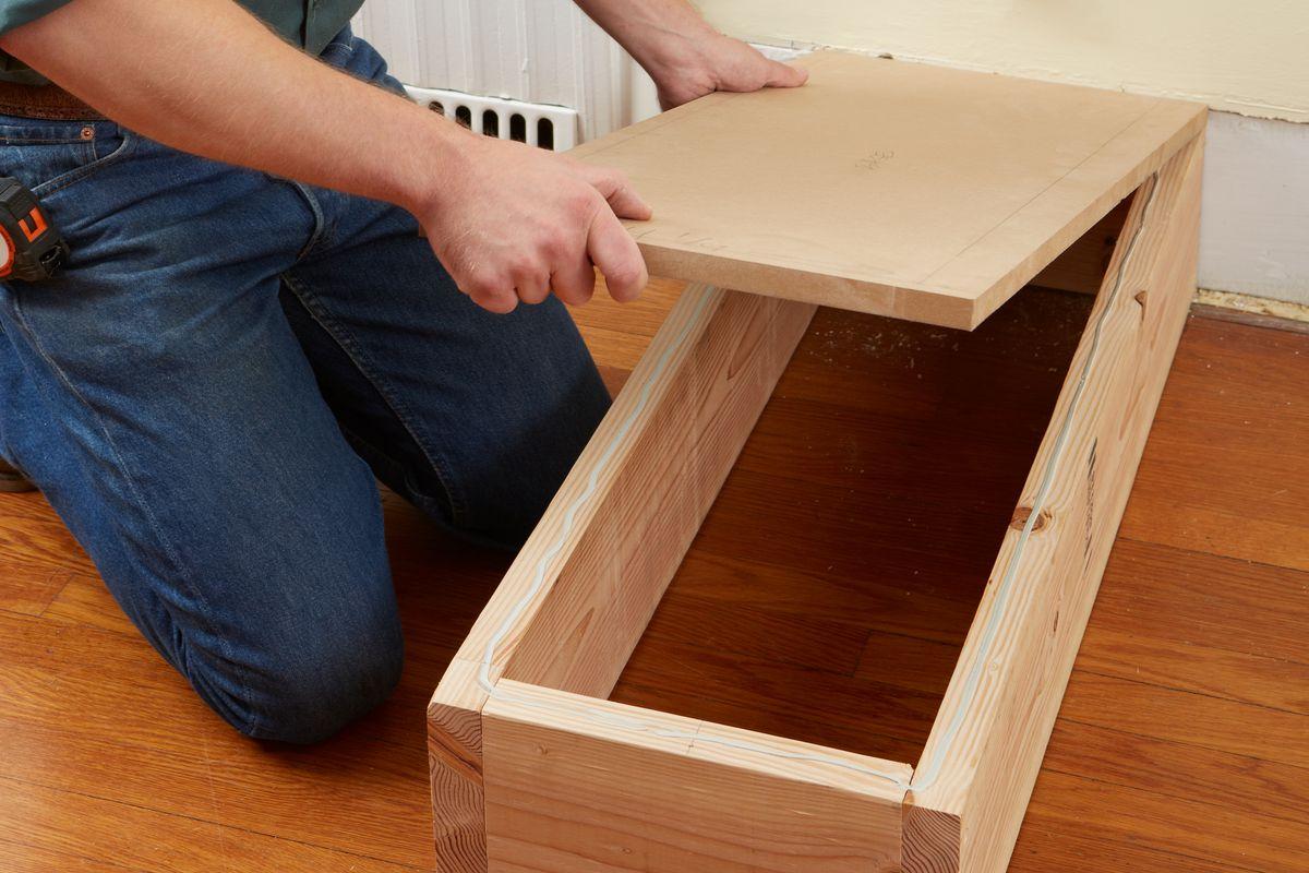 Glueing MDF Panel Of DIY Room Divider To Base