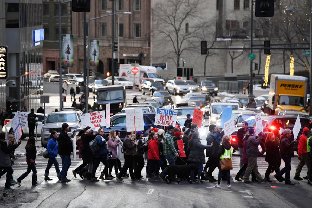 Denver Classroom Teachers Association teachers and supporters rally on January 30, 2019, demanding better wages and urging the state not to get involved in a possible strike.