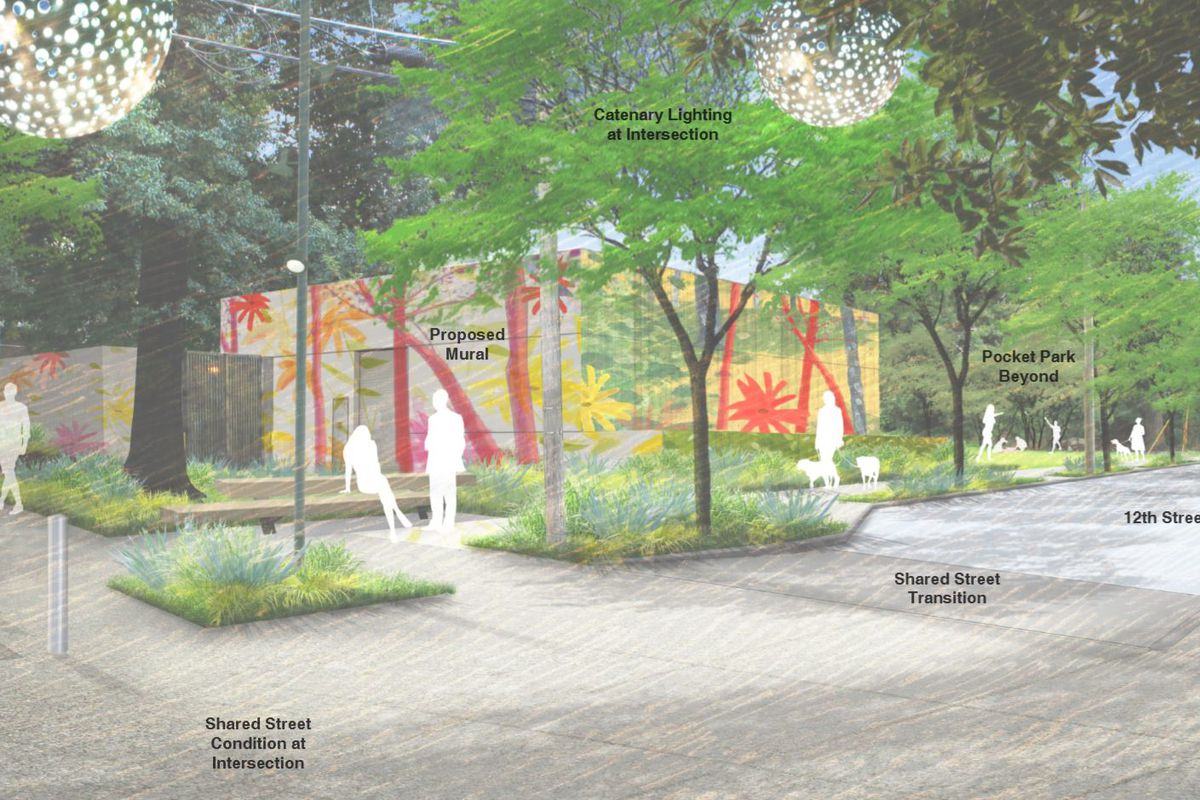 A rendering of a large pedestrian zone with murals.