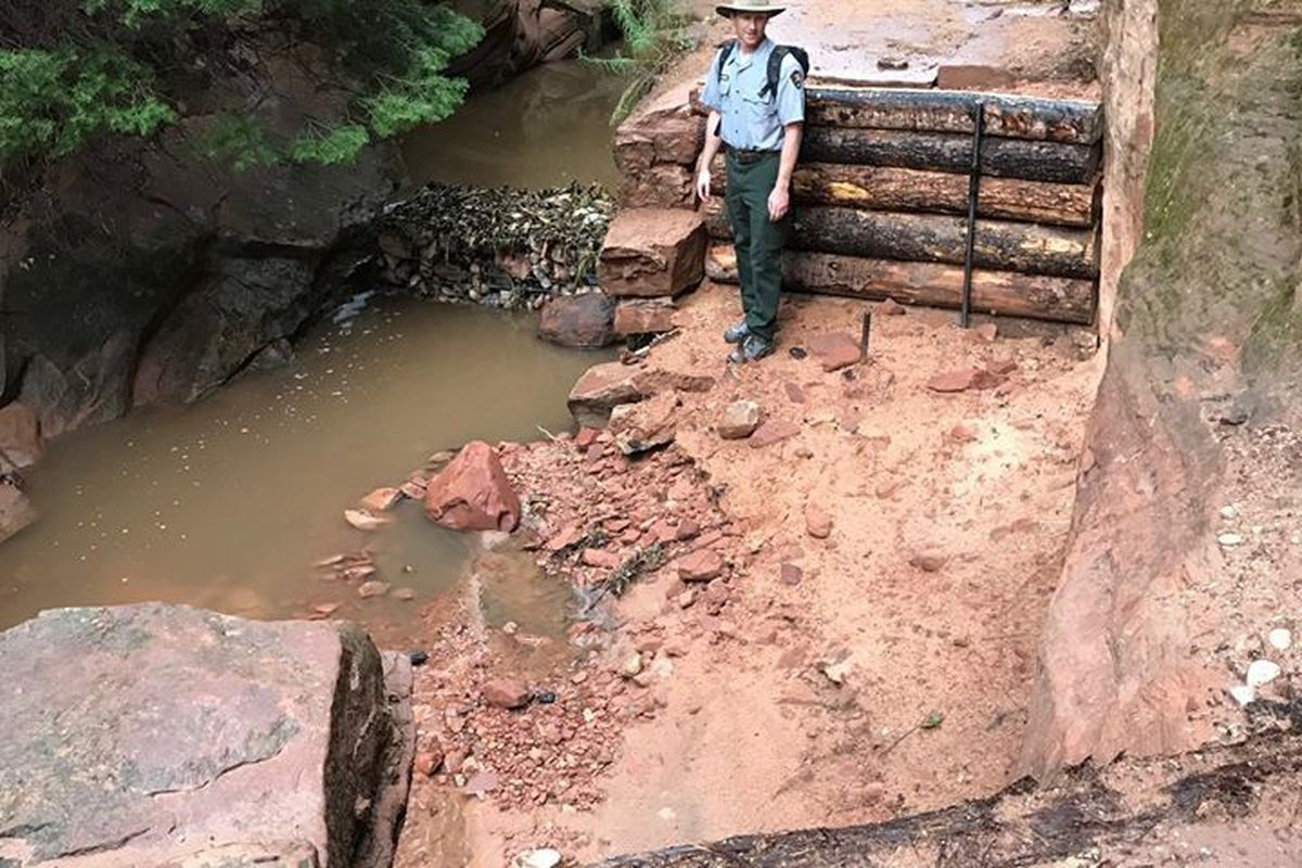 """Several trails at Zion National Park remain closed while workers continue to repair or reroute those that were damaged, including Angel's Landing, during an """"intense thunderstorm"""" last month, according to park officials."""