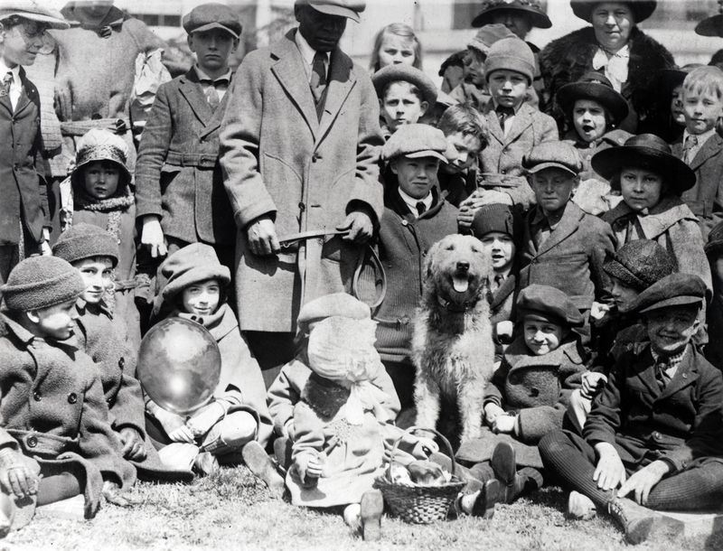 Laddie Boy hosts the Easter Egg Roll of 1923 while President and Mrs. Harding were on a trip.