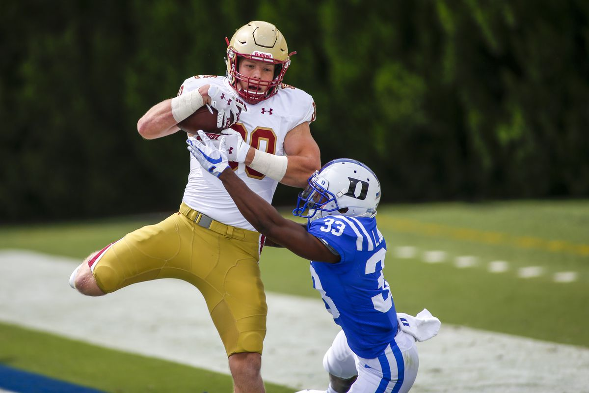 Boston College Eagles tight end Hunter Long catches a touchdown pass against Duke Blue Devils cornerback Leonard Johnson in the third quarter at Wallace Wade Stadium.