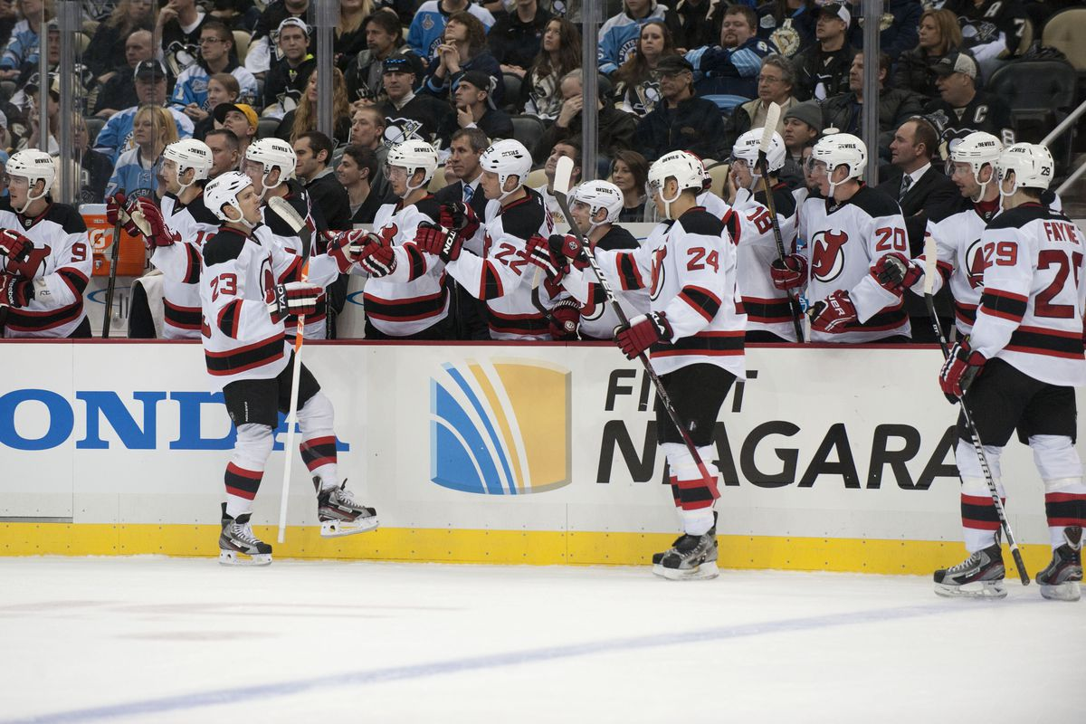 The Devils got to celebrate three goals on Sunday on their way to their fifth win a row.  How often will they get to celebrate goals tonight?
