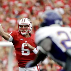 Wisconsin's Danny O'Brien throws during the first half of an NCAA college football game against Northern Iowa Saturday, Sept. 1, 2012, in Madison, Wis.