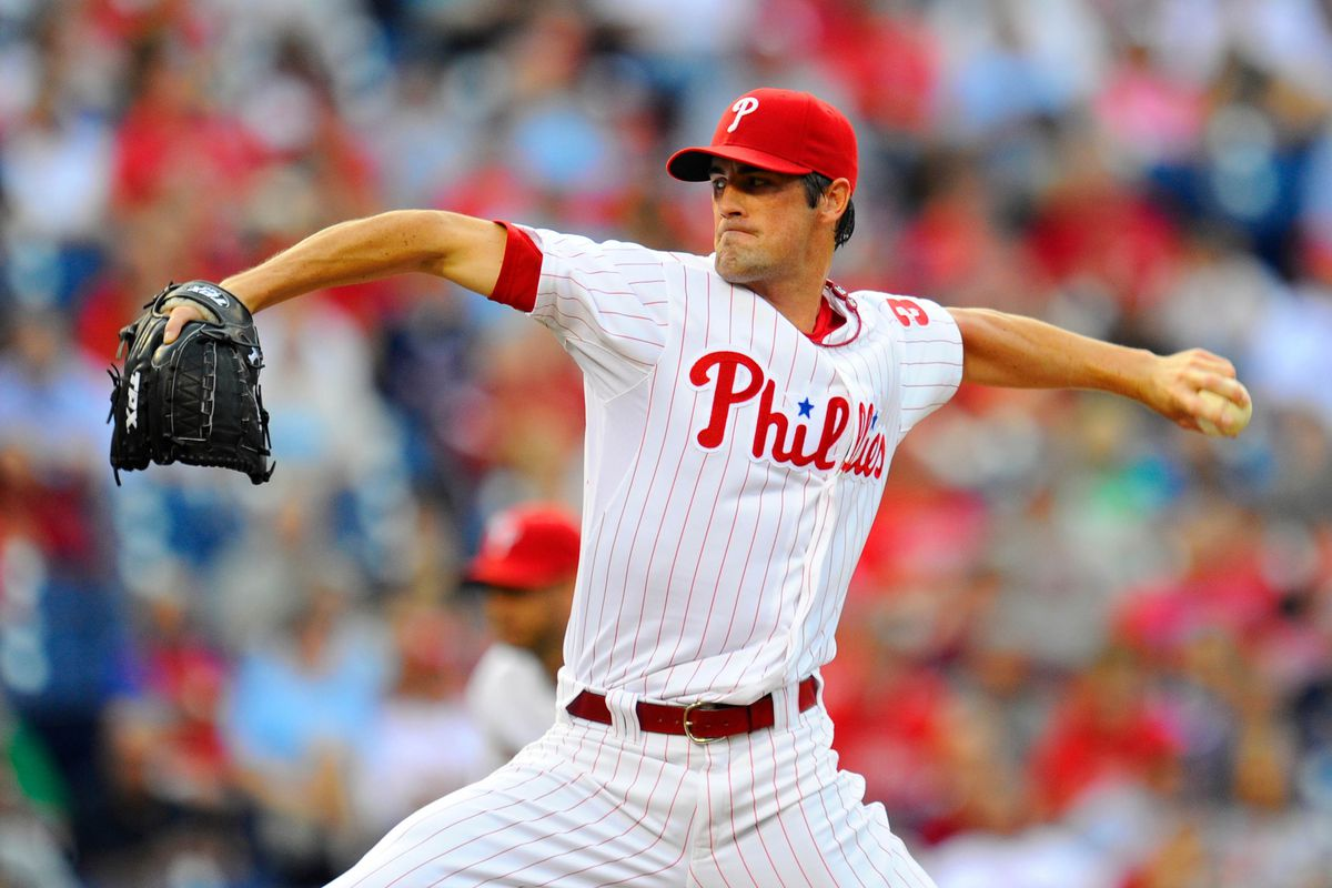 August 7, 2012; Philadelphia, PA, USA; Philadelphia Phillies starting pitcher Cole Hamels (35) pitches against the Atlanta Braves during the first inning at Citizens Bank Park. Mandatory Credit: Dale Zanine-US PRESSWIRE