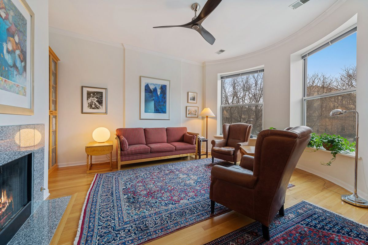 Two brown leather chairs face a fireplace in living room with large windows and two area rugs.