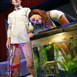 """Emily Burnworth, left, and David Fetzer star in Salt Lake Acting Company's production of """"Boom."""""""