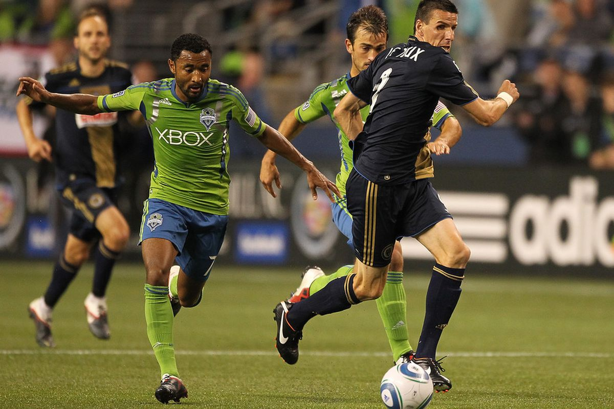 Sebastien Le Toux and the Philadelphia Union's 2-0 victory over the Seattle Sounders Saturday night catapulted the Union over Sporting Kansas City for first place in the Eastern Conference. (Photo by Otto Greule Jr/Getty Images)