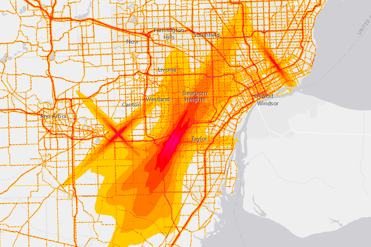 Interactive map shows what Detroit noise levels look like ... on memphis map, united states map, duluth map, chicago map, toronto map, henry ford hospital map, royal oak map, great lakes map, cincinnati map, compton map, michigan map, las vegas map, pittsburgh map, atlanta map, quebec map, baltimore map, highland park map, usa map, st louis on map, new york map,