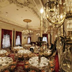 The Versailles Room of New York's St. Regis Hotel is prepared for a function, Wednesday, March 14, 2012. A century after the Titanic sank, the legacy of the ship's wealthiest and most famous passenger, John Jacob Astor, quietly lives on at the luxury hotel he built in New York City.