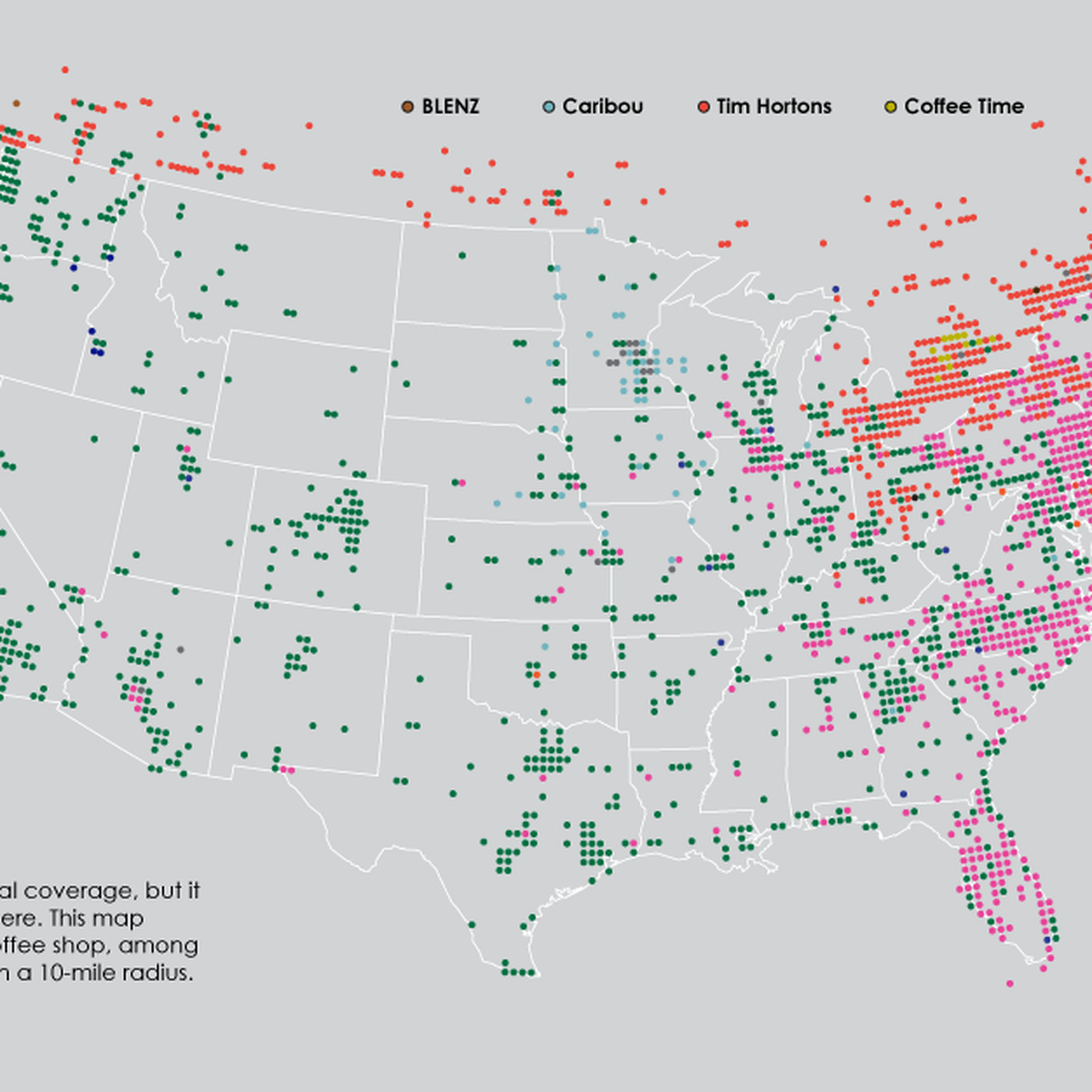 Dunkin Donuts Us Map Coffee chains in America, in one map   Vox