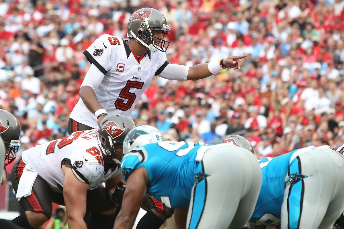 September 9, 2012; Tampa, FL, USA; Tampa Bay Buccaneers quarterback Josh Freeman (5) points in the red zone in the second quarter against the Carolina Panthers at Raymond James Stadium. Kim Klement-US PRESSWIRE