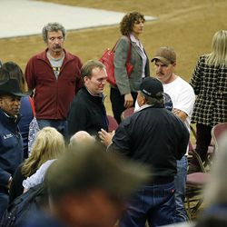 County officials talk with attendees following a town hall meeting at the Salt Lake County Equestrian Park in South Jordan, Monday, April 25, 2016.