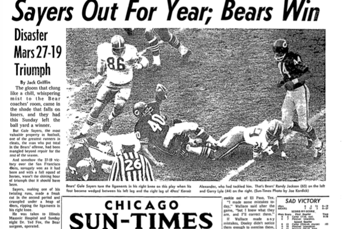 The Sun-Times' back page told the sad story of Gale Sayers' injury against the San Francisco 49ers on Nov. 10, 1968.
