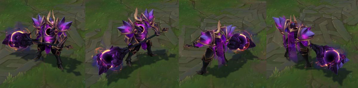 Dark Star Mordekaiser's in-game model. His usual axe is turned into a huge glowing black hole