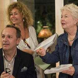 """Arnaud Viard as Jacques Clement and writer/director Eleanor Coppola on the set of """"Paris Can Wait."""""""