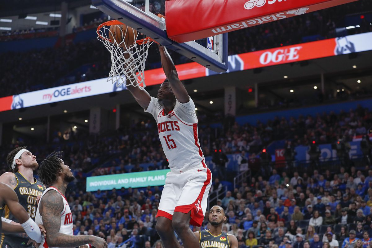 Houston Rockets center Clint Capela dunks against the Oklahoma City Thunder during the first half at Chesapeake Energy Arena.