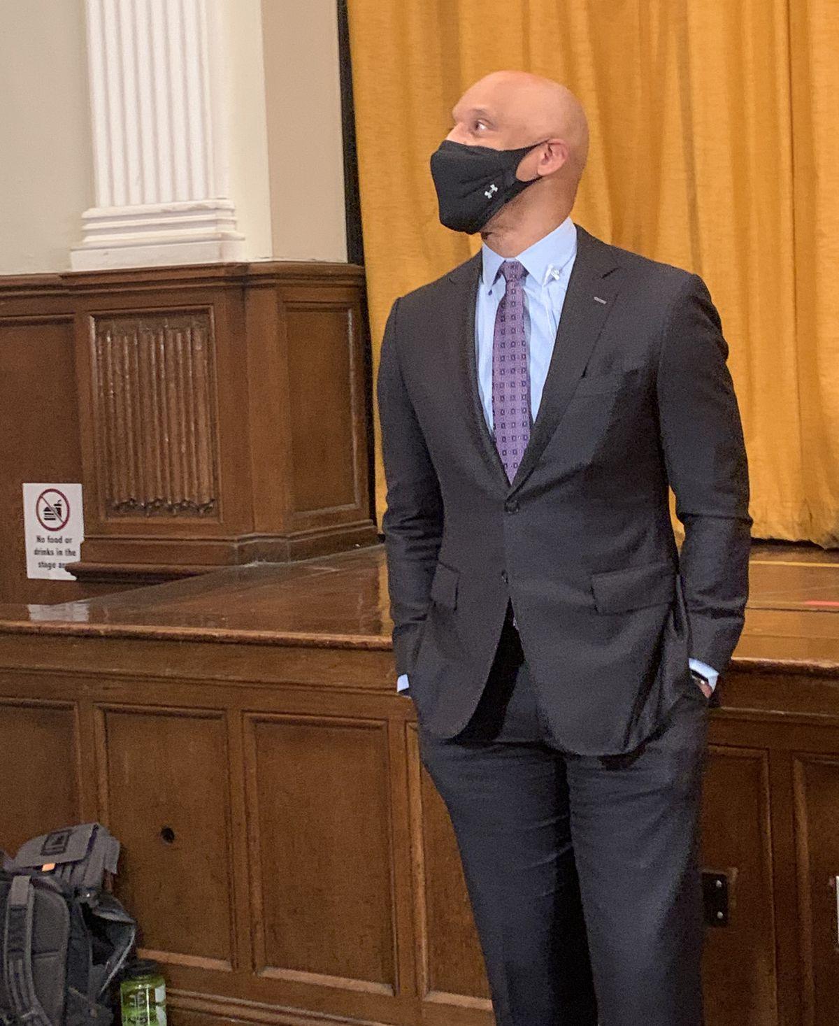 Philadelphia Superintendent William Hite wearing a face mask.