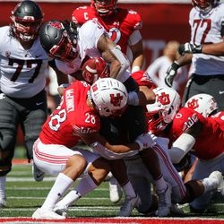 Utah and Washington State compete during an NCAA college football game at Rice-Eccles Stadium on Saturday, Sept. 25, 2021 in Salt Lake City.
