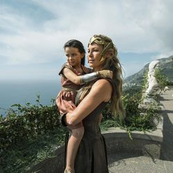 """This image released by Warner Bros. Entertainment shows Connie Neilsen and Lilly Aspell in a scene from """"Wonder Woman,"""" in theaters on June 2. (Alex Bailey/Warner Bros. Entertainment via AP)"""