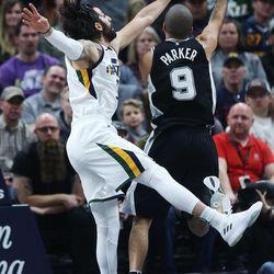 Utah Jazz guard Ricky Rubio (3) defends San Antonio Spurs guard Tony Parker (9) in Salt Lake City on Thursday, Dec. 21, 2017.