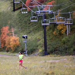 Angie Anderson runs down Park City Mountain Resort in Park City on Friday, Sept. 5, 2014.