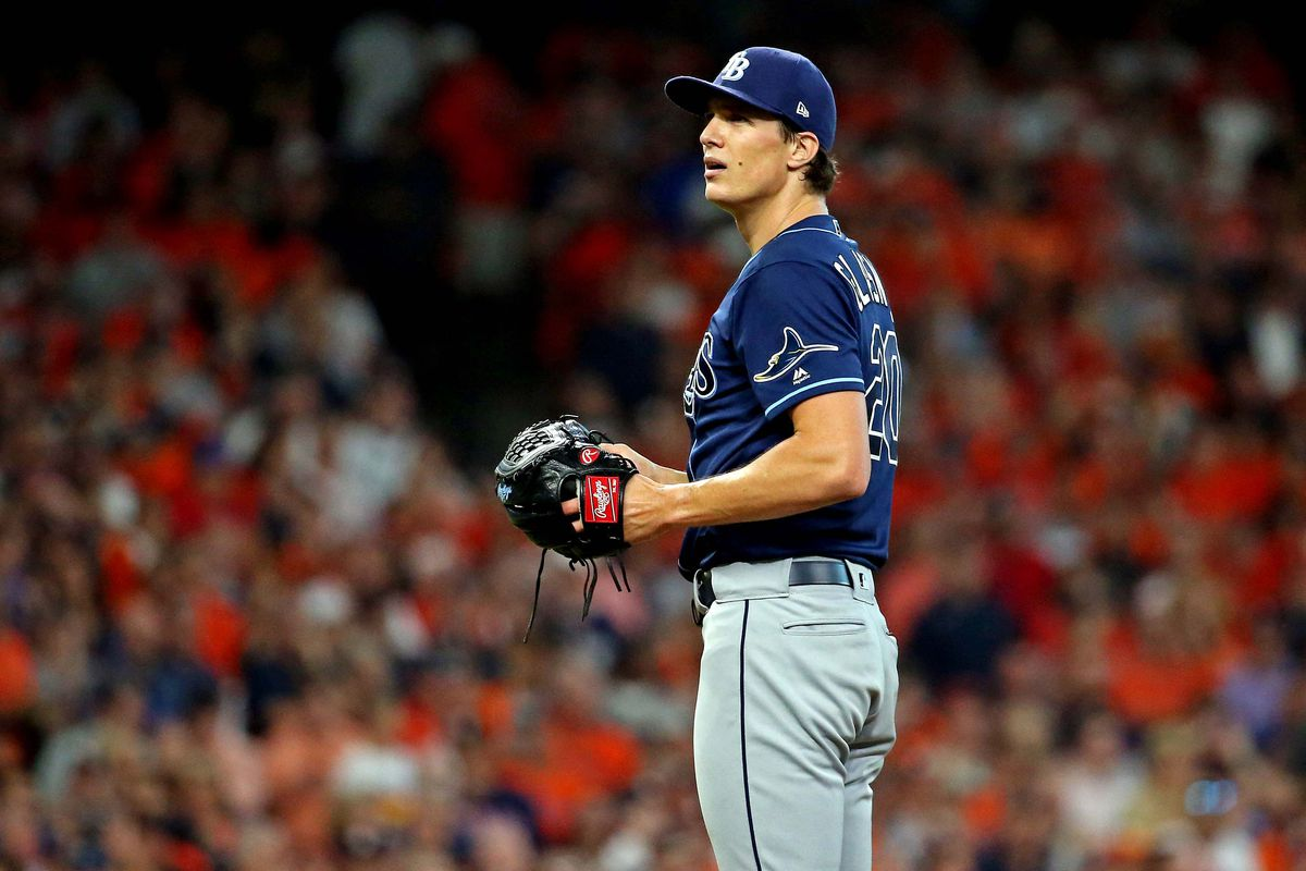 Tampa Bay Rays starting pitcher Tyler Glasnow reacts during the first inning against the Houston Astros in game five of the 2019 ALDS playoff baseball series at Minute Maid Park.