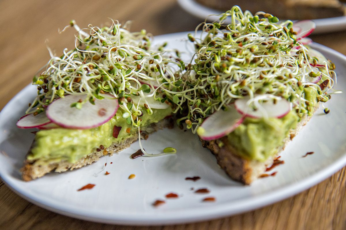 The Left Coast from Wonder with grass-fed ghee, avocado, sprouts, radish, extra virgin olive oil, lemon, salt, and chili flake.