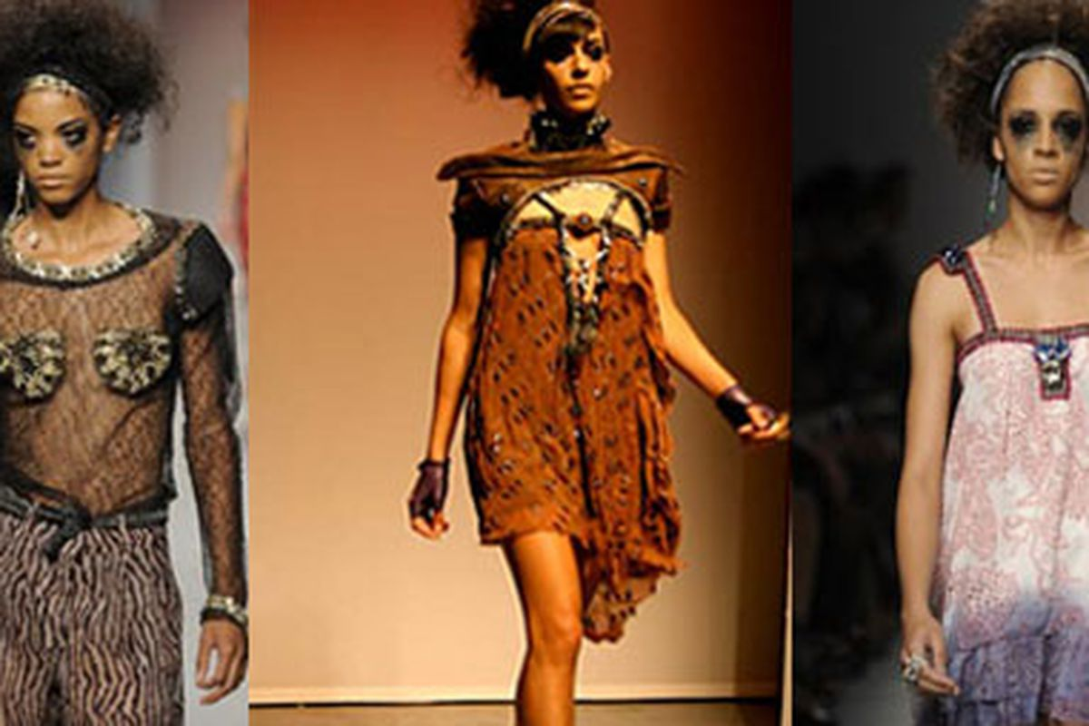 """Is it our imagination, or did he specifically design the a few of these to look like they have a face? Via <a href=""""http://www.lafashionweek.com/2009/10/index.html"""">LA Fashion Week</a>"""