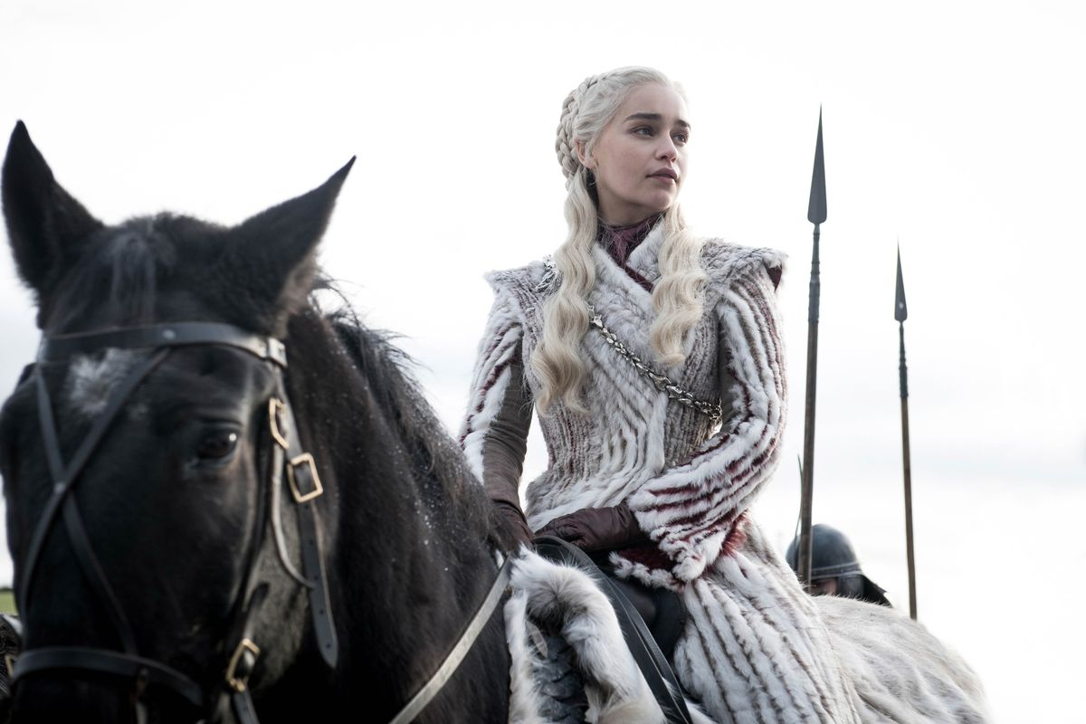 """Daenerys Targaryen seated on a horse in the HBO show """"Game of Thrones."""""""