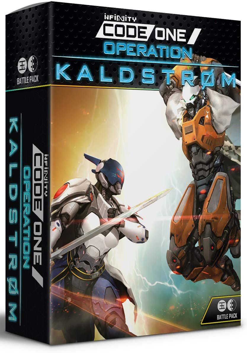 Cover art for Operation Kaldstrom shows two heavily armed and armored warriors fighting with swords.