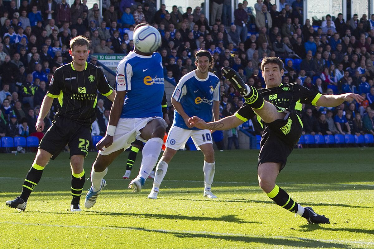 Darren O'Dea smashes home Leeds' last gasp winner away to Peterborough earlier this campaign. (Photo by Ben Hoskins/Getty Images)