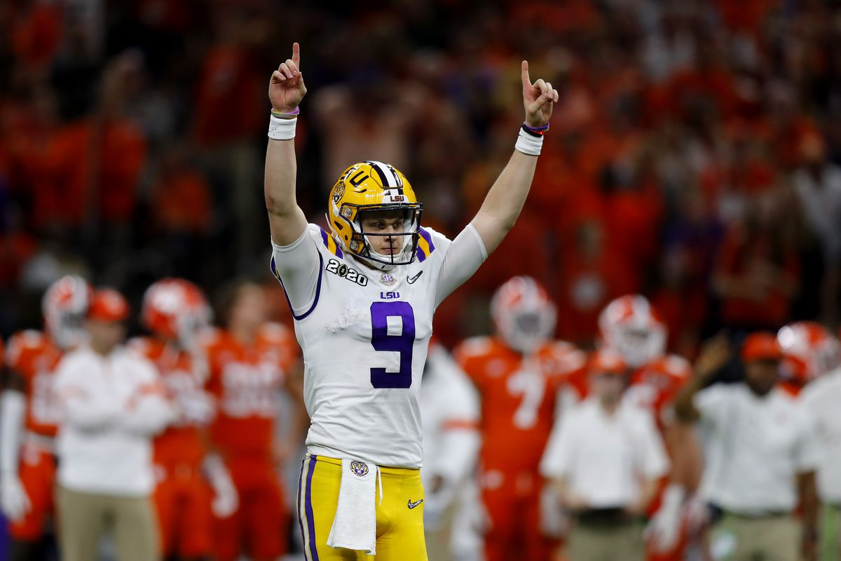 Joe Burrow of the LSU Tigers reacts to a touchdown against Clemson Tigers during the third quarter in the College Football Playoff National Championship game at Mercedes Benz Superdome on January 13, 2020 in New Orleans, Louisiana.