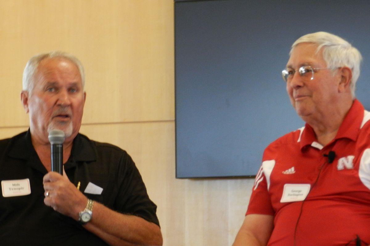 Former Nebraska assistant coaches Milt Tenopir and George Darlington entertained fans at Nebraska Football 202.