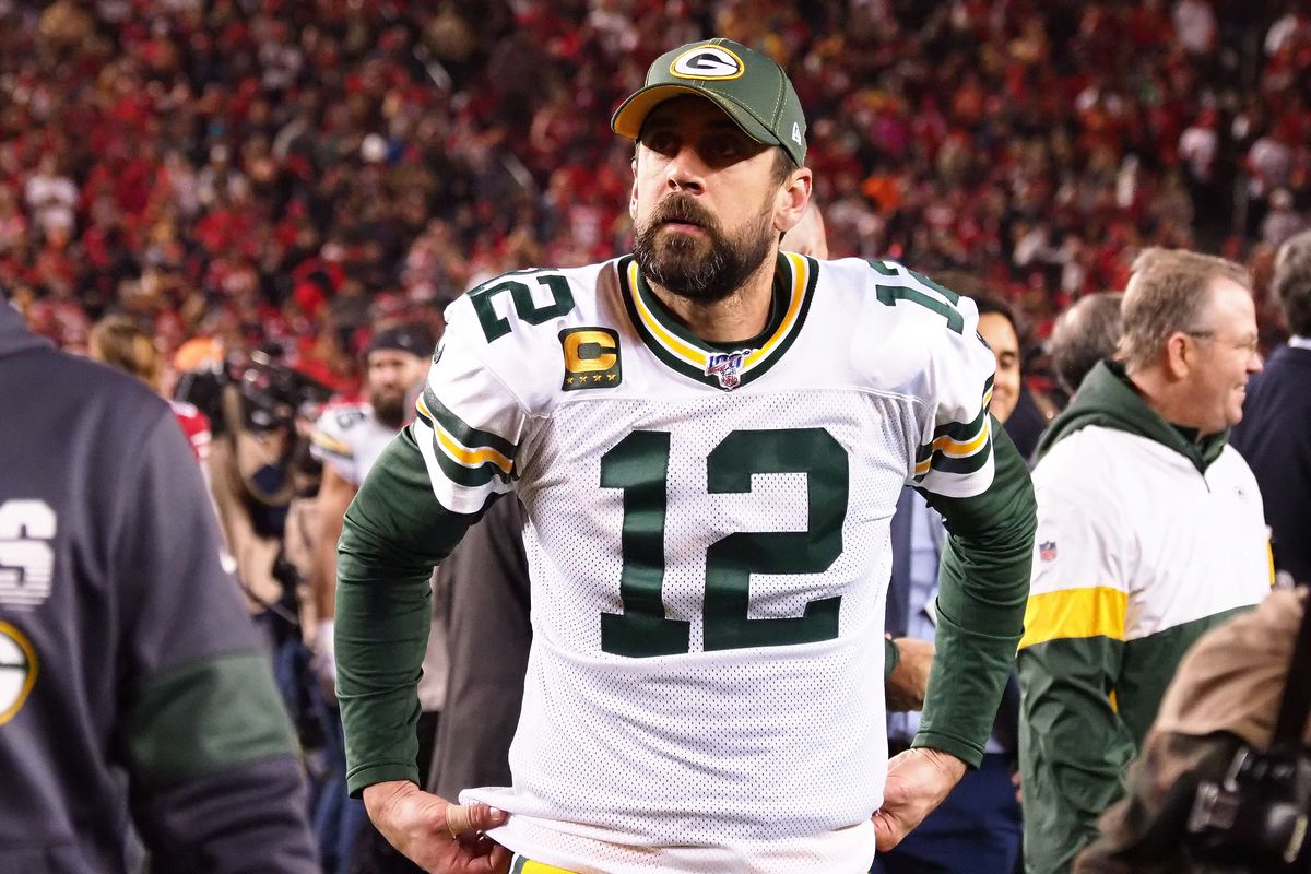 Green Bay Packers quarterback Aaron Rodgers reacts following the loss against the San Francisco 49ers in the NFC Championship Game at Levi's Stadium.