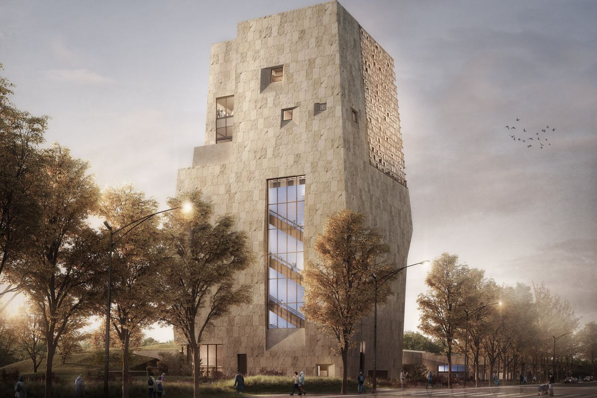 The proposed Obama Presidential Center museum tower, as seen from Stony Island Avenue.